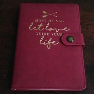 NWT Maroon Faux Leather Love Saying Journal